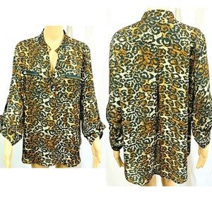 Cato blouse size XL brown and black animal print